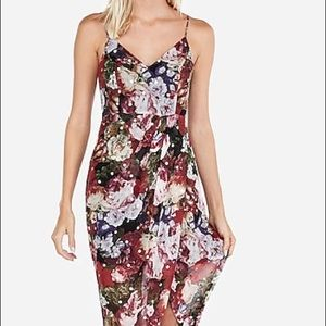 Express Floral Chiffon Surplice Maxi Dress